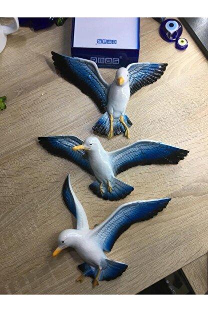 DEMİR TOPTAN 3'lü 3 Boyutlu Martı Balkon Duvar Süsü Kuş Takımı