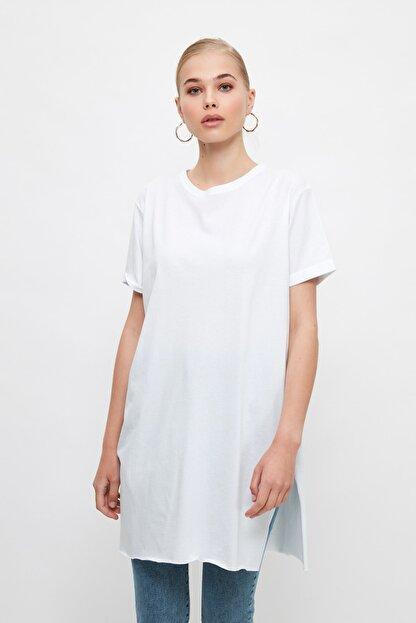Trendyol Modest Beyaz Basic Tunik T-shirt TCTSS21TN0056