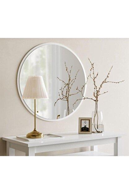 Aktın Cam Dekoratif Yuvarlak Ayna Beyaz