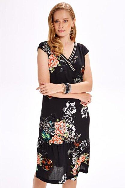 İkiler Yakası Simli Bantlı Eteği Volanlı Desenli Elbise 020-4029