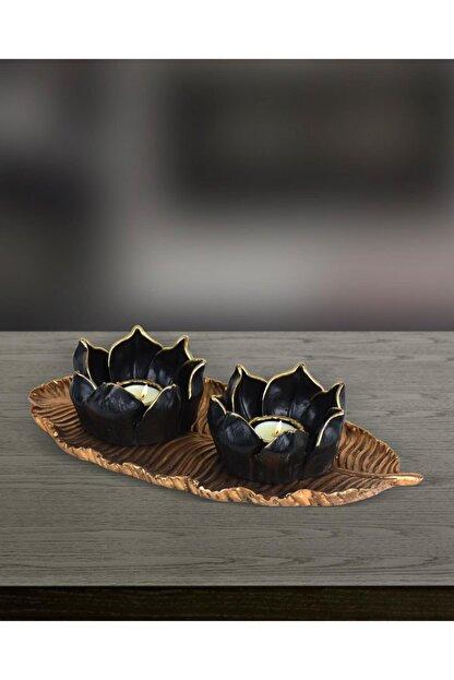 yaka dizayn Dekoratif Lotus Mumluk Seti 3 Parça - Altın Polyester