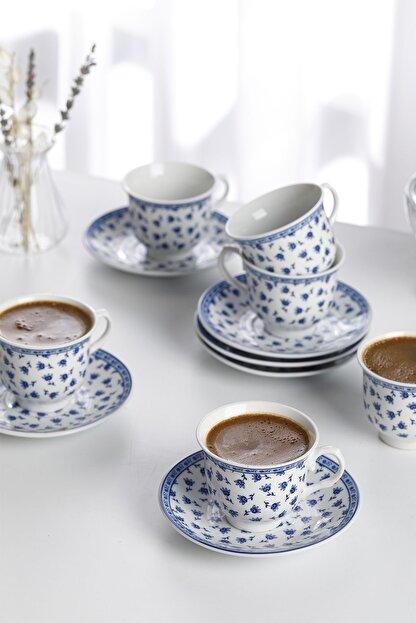English Home Briana Porselen 6'lı Kahve Fincan Takımı 90 ml Mavi