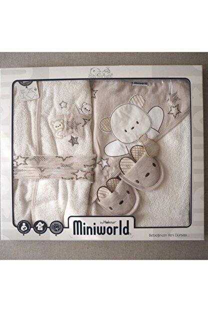 Miniworld Star 5'li Banyo Bornoz Seti Kahvrengi