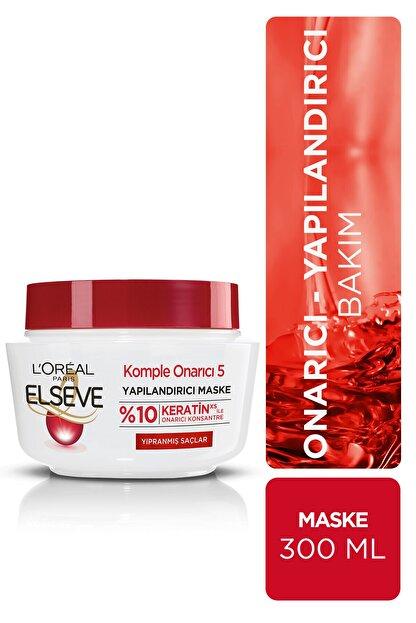 Elseve Komple Onarıcı 5 Yıpranmış Saçlar Için Keratinxs Içeren Yapılandırıcı Maske 300 ml