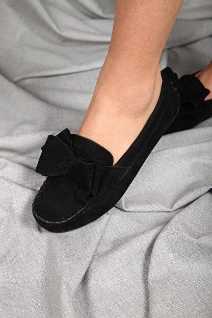 Beyond  Siyah Fiyonklu Kadın Günlük Casual Sneaker Babet Ayakkabı Byndmot02