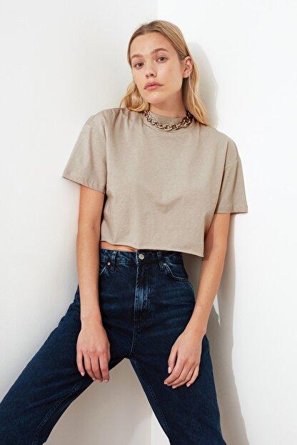 TRENDYOLMİLLA Taş Dik Yaka Crop Örme T-Shirt TWOSS20TS0287