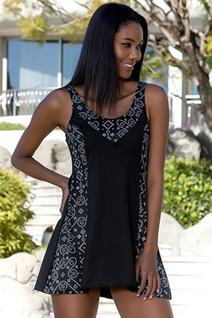 Armes Kadın Siyah Garni Şortlu Elbise Mayo