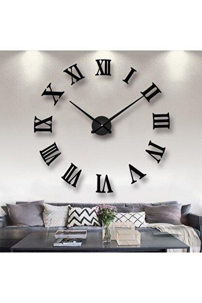 GoGoPlus Siyah Ahşap 3d Roma Rakamlı Duvar Saati Siyah