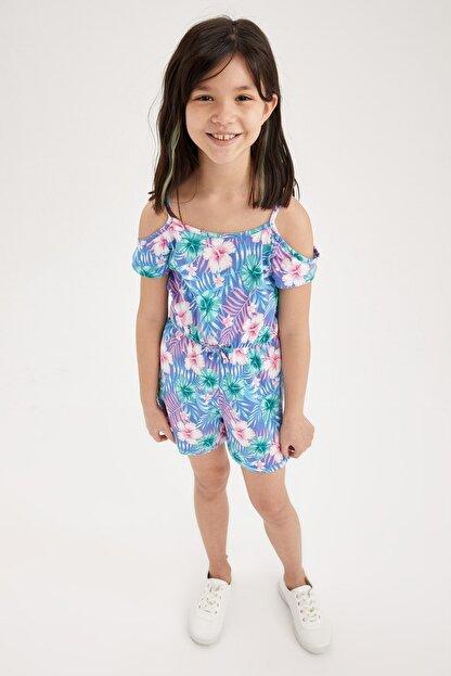 Defacto Kız Çocuk Mavi Çiçek Desenli Şort Tulum