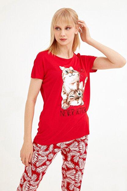 Fullamoda Kadın Kırmızı Kedi Baskılı Tshirt