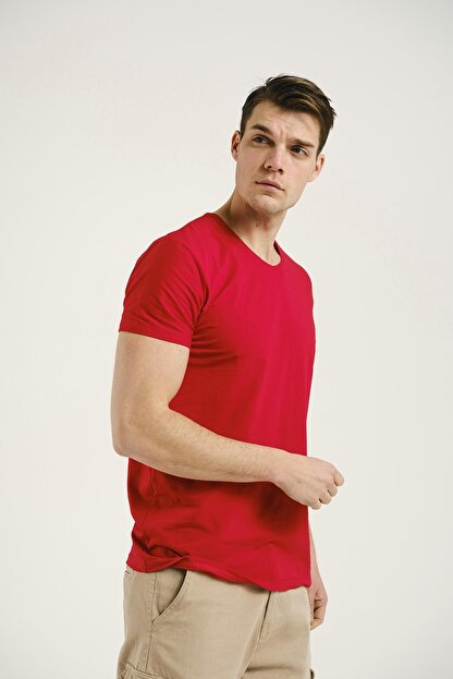 Oksit Erkek Kırmızı Riley V Yaka Slim Fit Basic Tshirt