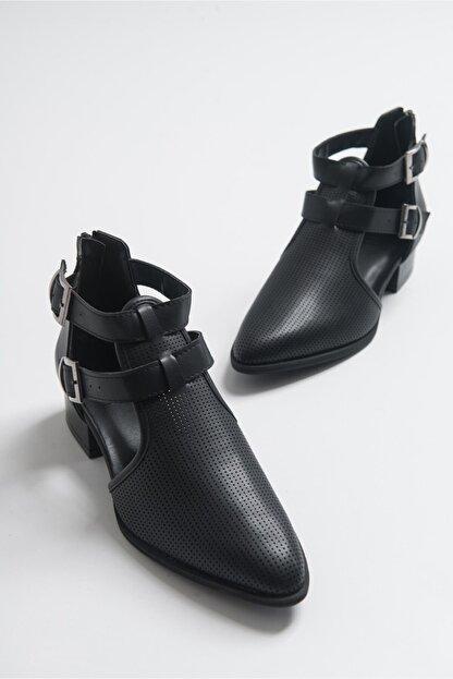 LuviShoes 9 Sıyah Cilt Kadın Ayakkabı
