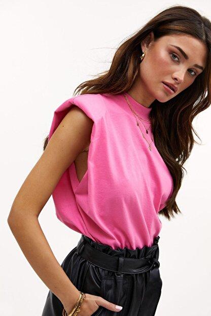 Madmext Kadın Pembe Vatkalı T-Shirt Mg900