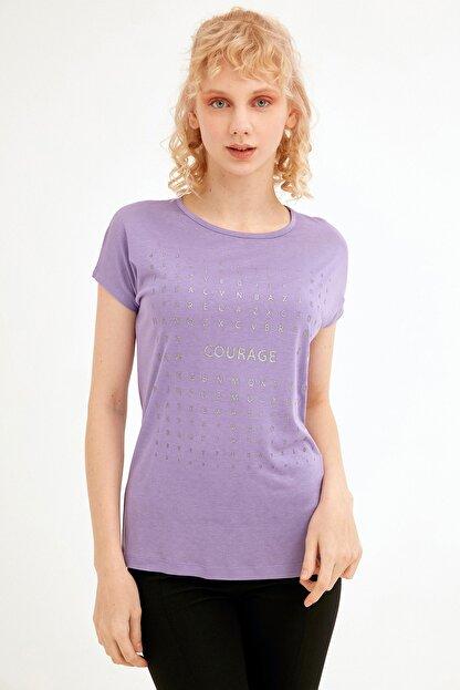 Fullamoda Kadın Lila Simli Courage Baskılı Tshirt