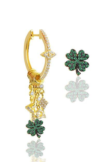 Söğütlü Silver Gümüş Altın Yaldızlı Yeşil Yaşlı Yonca Şans Küpe