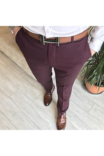 TerziAdemAltun Italyan Stil Slim Fit Erkek Kumaş Pantolon Bordo T4423