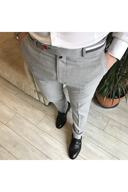 TerziAdemAltun Italyan Stil Slim Fit Erkek Kumaş Pantolon Gri T4279