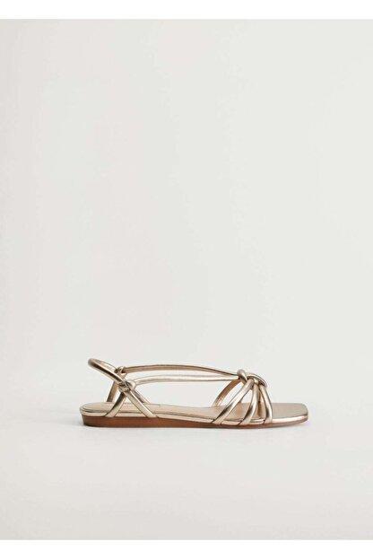 Mango Metalik Bantlı Sandalet