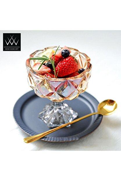 Wow Home Art - 6 Adet Cam Ayaklı Kase Bal Lüster - Dondurmalık , Şekerlik , Sunumluk