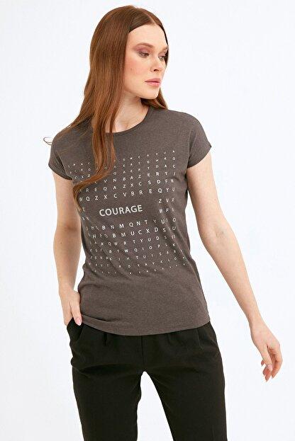 Fullamoda Kadın Antrasit Simli Courage Baskılı Tshirt