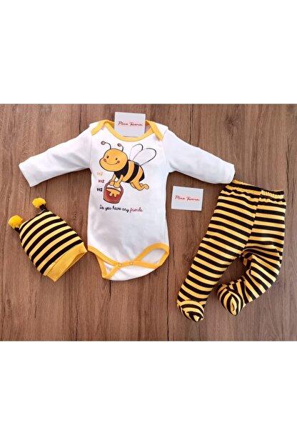 Mina Tasarım Unisex Bebek Sarı Arılı 3 Lü Zıbın Takımı