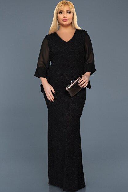 VOLİNAY TEKSTİL Kadın Siyah Büyük Beden Kolu Şifon Simli Abiye Elbise