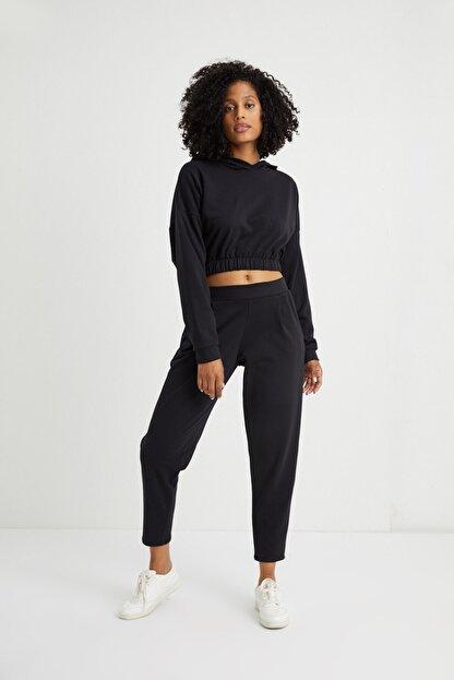Curly Store Kadın Siyah Cepli Jogger Pantolon