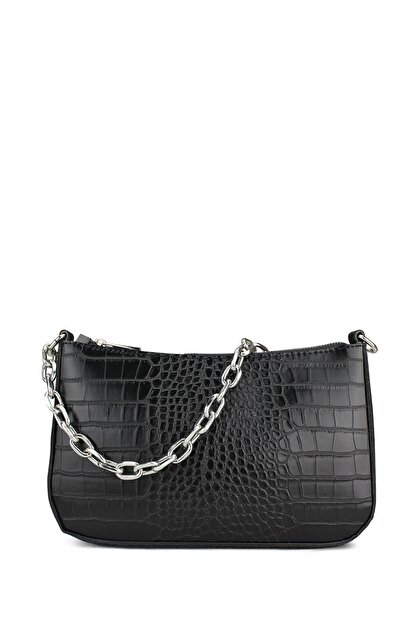 Housebags Kadın Siyah Timsah Görünümlü Baguette Çanta 192