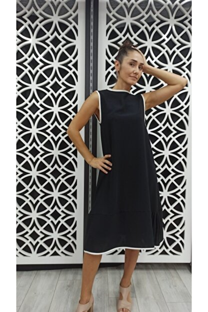 Miss Butik ve Terzi Evi Kadın Siyah Biyeli Elbise
