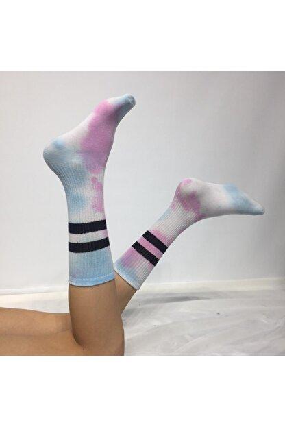 Adel Unisex Mavi Batik Boyalı Çorap