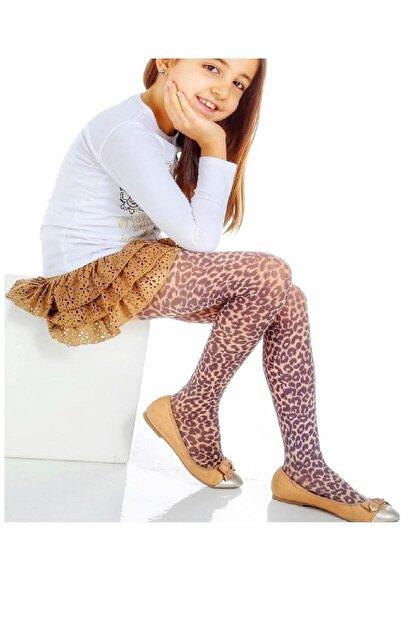 Toka Perisi Kız Kahverengi Çocuk Leopar Desenli Ince Külotlu Çorap