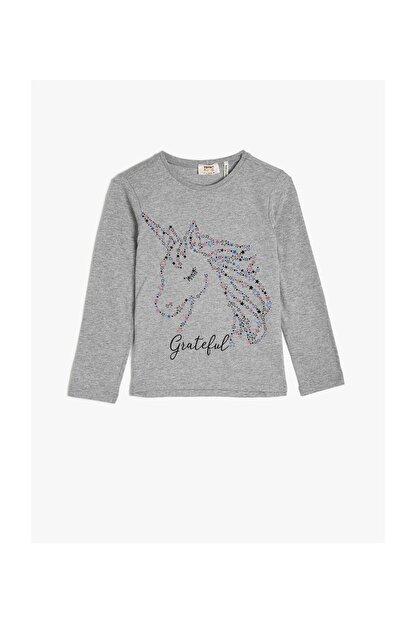 Koton Gri Kız Çocuk T-Shirt