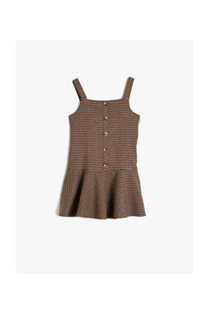 Koton Kahverengi Ekoseli Kız Çocuk Elbise