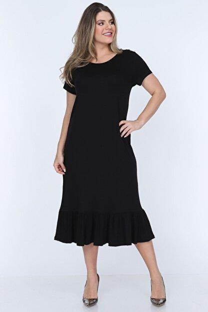 Modayız Siyah Fırfırlı Elbise 11b-0703