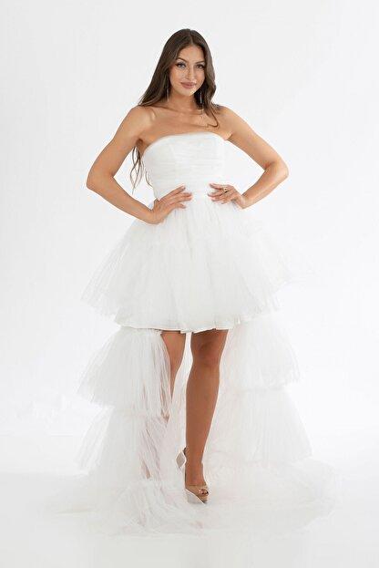 6ixty8ight Ekru Tül Fırfırlı Uzun Abiye Elbise