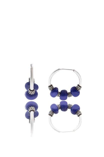 Elika Silver Mavi Boncuklu Halka Model 925 Ayar Gümüş Küpe