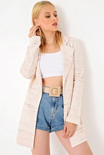 Trend Alaçatı Stili Kadın Pudra Kırçıllı Tweet Ceket ALC-251-146