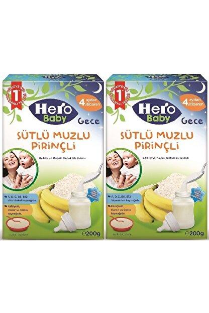 Hero Baby 200gr Gece Sütlü Muzlu Pirinçli 2 Li Set Kaşık Maması