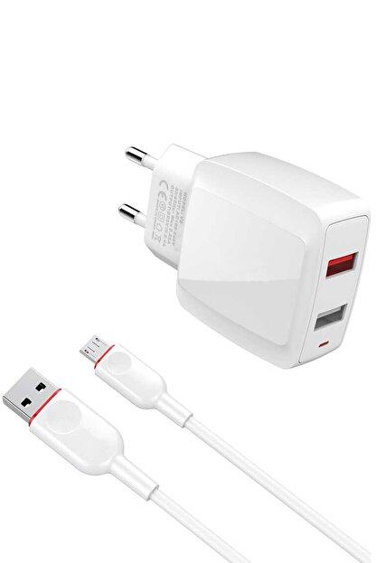 AKSESUARİZM Honor Play 8 Telefonlar Için Ce Sertifikalı 2.4a Çift Çıkışlı Şarj Aleti + Şarj Kablosu