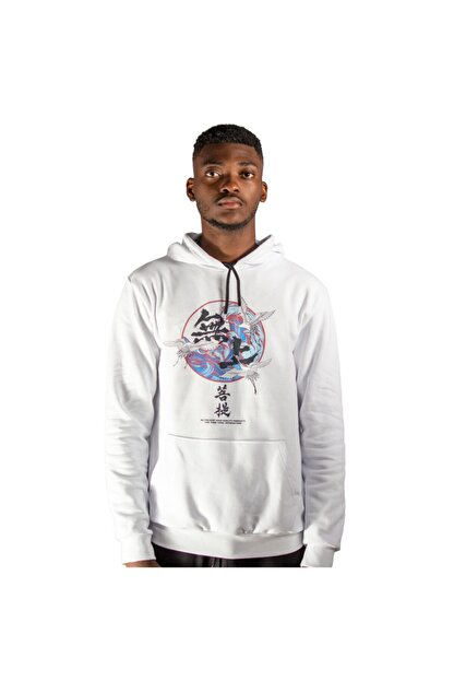 iba tekstil Erkek Beyaz Kapşonlu Baskılı Sweatshirt