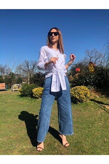 İpes Butik Kadın Buz Mavisi Geniş Salaş Kesim Jean Kot Pantolon