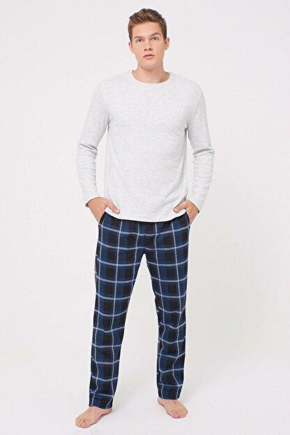 LC Waikiki Erkek Lacivert Ekoseli Pijama Takım 0W6431Z8
