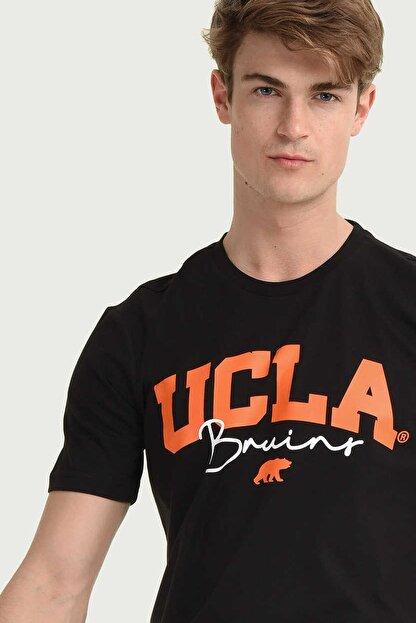 Ucla Siyah Bisiklet Yaka Erkek T-shirt
