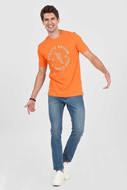 Ucla ADELANTO Turuncu Bisiklet Yaka Baskılı Erkek Tshirt