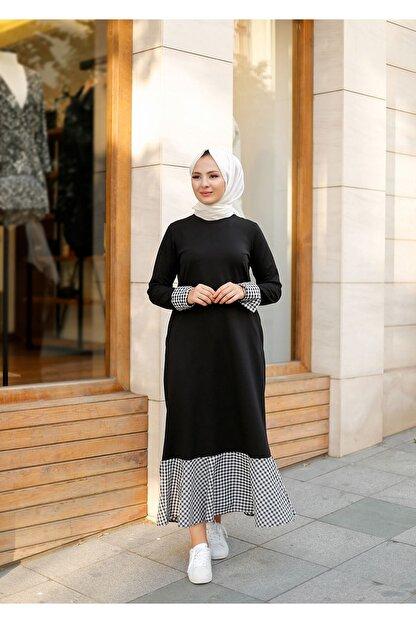ELBİCA Kadın  Siyah Beli Kuşaklı Cepli Ekose Desen Elbise