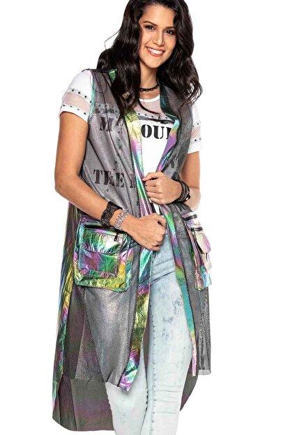Cipo&Baxx Kadın Gümüş Renk Transparan Detaylı Uzun Yelek