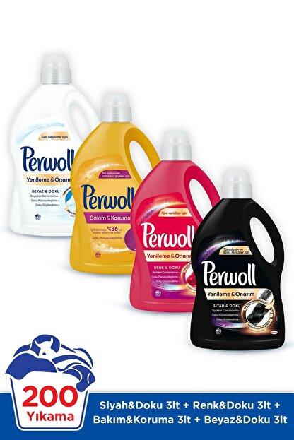 Perwoll Hassas Bakım Sıvı Çamaşır Deterjanı 4 x 3L (200 Yıkama) Siyah + Renkli + Bakım Onarım + Beyaz