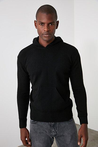 TRENDYOL MAN Siyah Erkek Kapüşonlu Dokulu Slim Fit Triko Kazak TMNAW20KZ1527