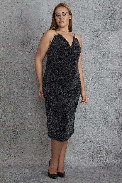 Şans Kadın Siyah Sırt Dekolteli Lastik Büzmeli Simli Abiye Elbise 65N18409