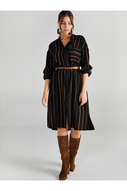 Faik Sönmez Kadın Siyah Çizgili Gömlek Elbise